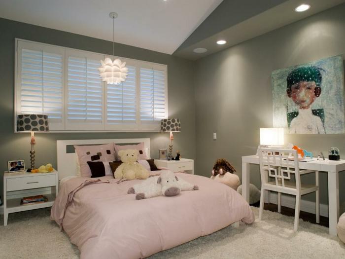 Einfaches Design in Rosa und Grau-Jugendschlafzimmer Mädchen