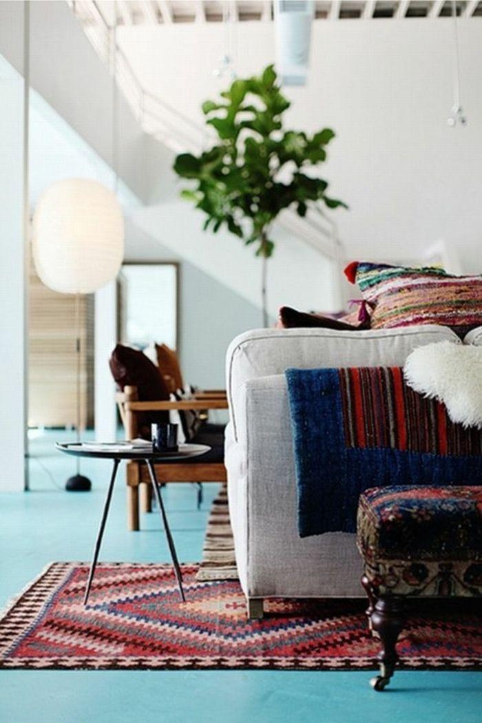 Einrichtung Wohnzimmer Farbauswahl Kontrast-Farbwahl modernes Innenraumdesign