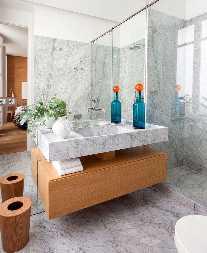 Einzigartiges Design mit Marmor und Holz-Elemente-Retro Badezimmer Marmor Holz