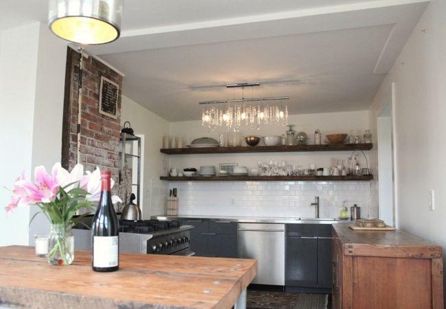 Eklektische Küche mit rustikalen Elementen-Eklektische Wohnung Vintage rustikal