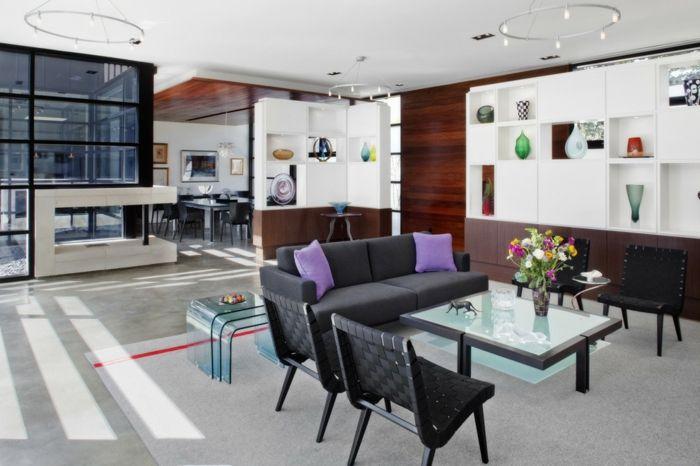 Eklektische und kunstvolle Gestaltung des modernen Wohnzimmers-Wohnzimmer Einrichtung Couchtisch aus Mattglas Acrylglas Beistelltisch modern robust