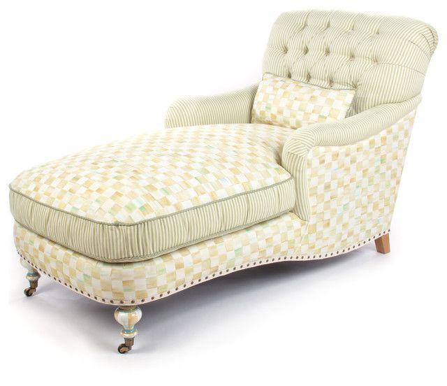 Elfenbeinfarbige Chaiselounge zeitgenössisches Design-eklektische Möbelstücke
