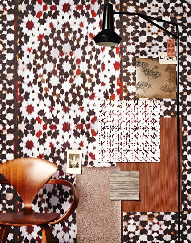 Ethno-Muster in Orange und Braun-Wandtapete afrikanische Bäume Textiltapeten Retro exotisch Ethno-Druck