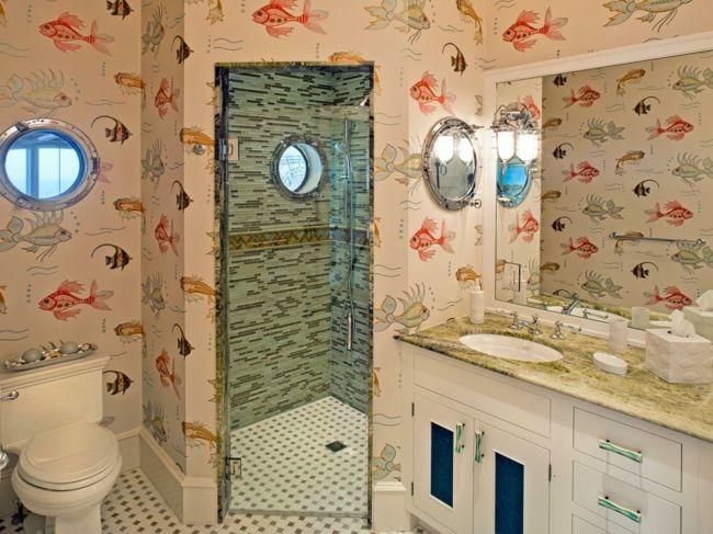 Farbenfrohe Fisch-Motive für nautisches Design-Badezimmer Tapete