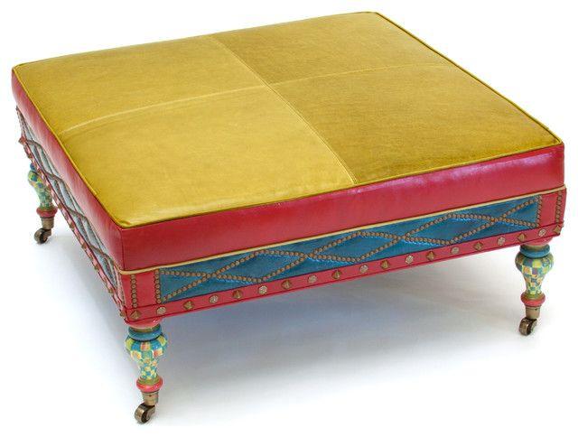 Farbenfroher Polsterhocker-eklektische Möbelstücke