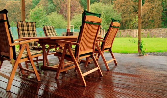 Farbliche Abstimmung für einen harmonischen Gesamteindruck-Teakholz Gartenmöbel-Set Veranda Natur