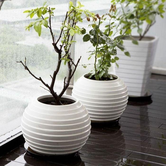 Fensterbank Kugelvase in Weiß-Dekorative Bodenvasen im zeitgenössischem Design