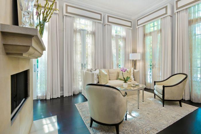 Fensterbehalndlung Weiß elegant Wohnzimmer Gardinen-dekorative Deckenleisten