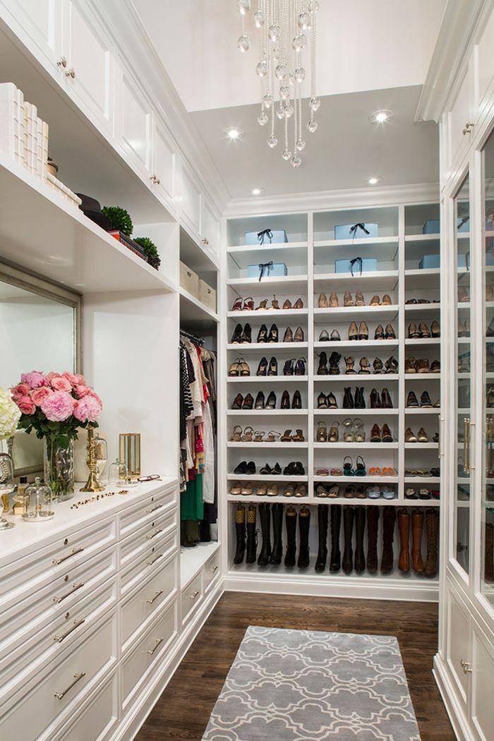 Fesche Kleider- und Schuhaufbewahrung-Offener begehbarer Kleiderschrank Weiß Luxus System