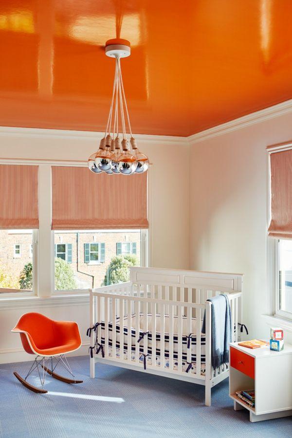 Fröhliche und warme Farben wirken am besten im Kinderzimmer-Wandfarbe Deckenfarbe Orange Hochglanz farbenfroh Wandgestaltung Kinderzimmer