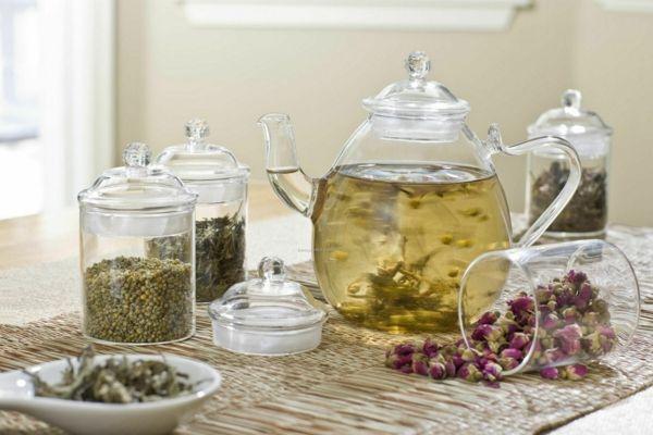Frisch zubereiteter Tee-Weißer Tee Wirkung wertvolle heilsame Teesorten Teepflanze Antioxidantien
