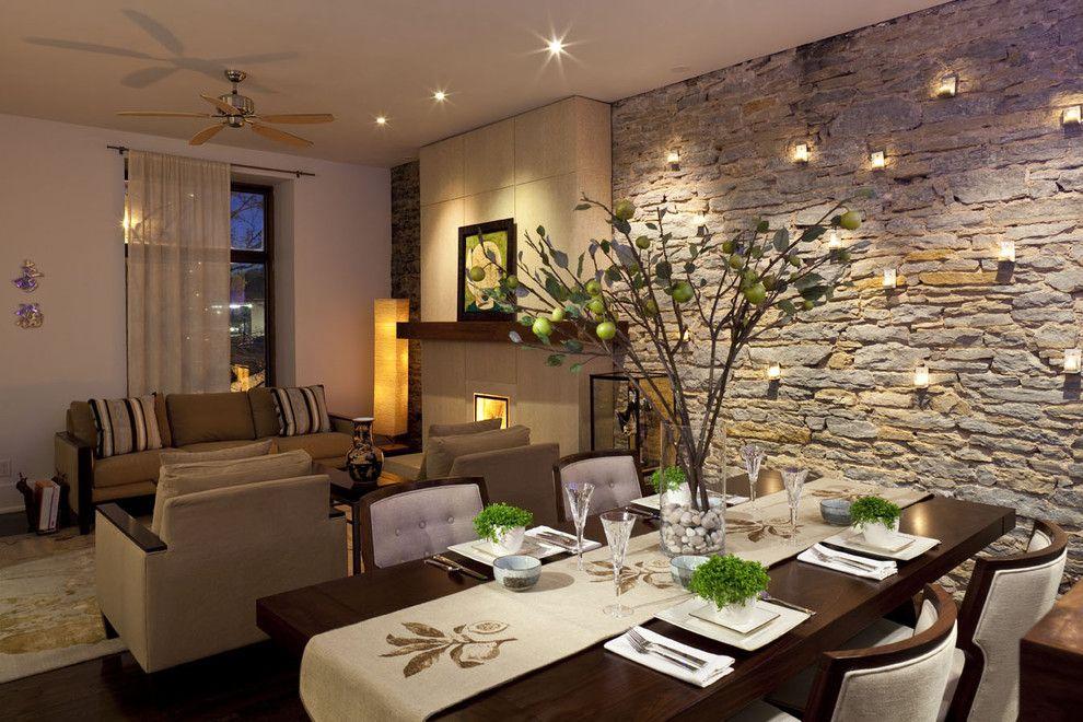 klassische steinwand im innendesign: trends fürs esszimmer, Esszimmer dekoo
