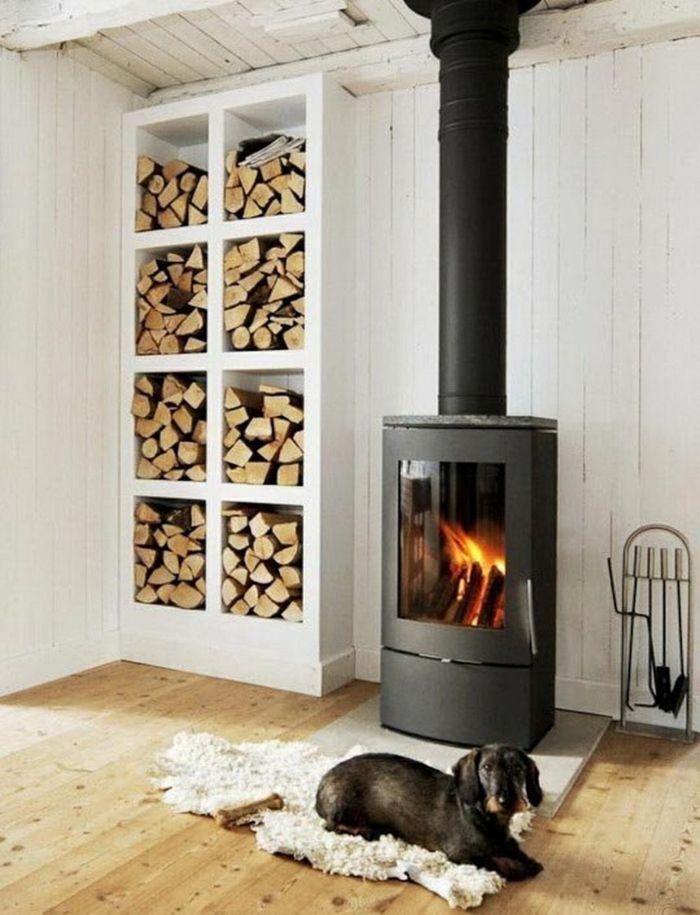 Gemütliche Einrichtung mit Holzelementen-praktische Holzaufbewahrung Brennholzregal Kaminholz Brennholzlagerung geschnittenes Holz
