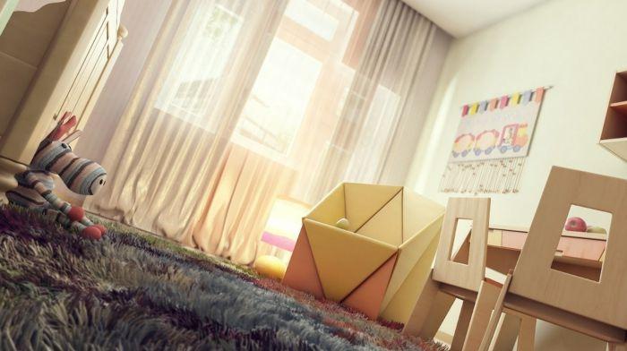 Gemütliche Gestaltung mit warmen Farben und Textilien-Kinderzimmer Mädchen Deko Ideen