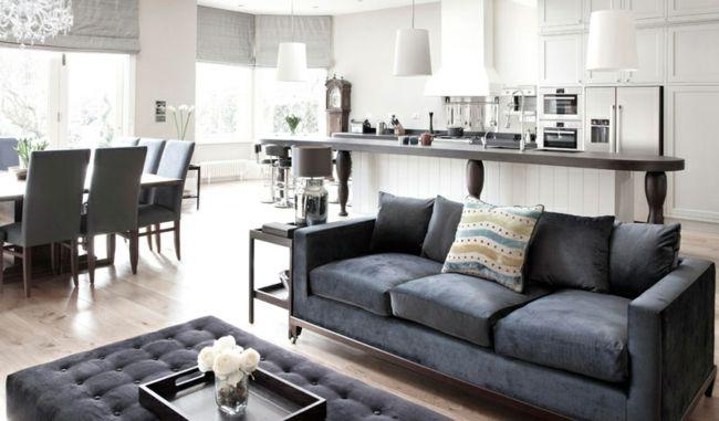 Gepolstertes Sofa auf Metallkufen-Modernes geräumiges Esszimmer-Sitzecke Küche Ideen