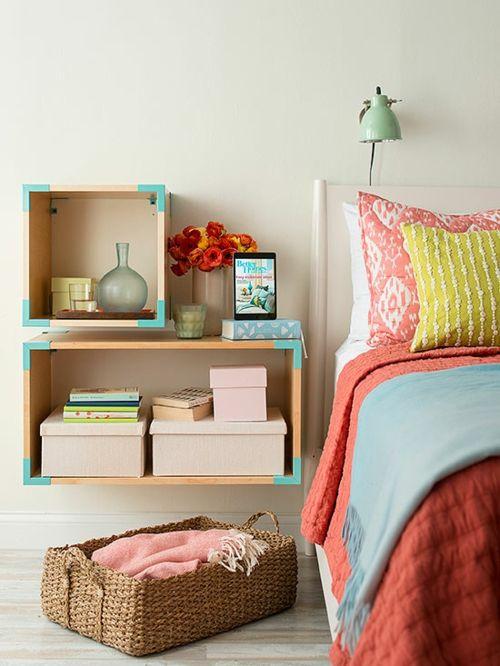Geschickte Aufbewahrung in zarten Pastellfarben-Aufbewahrung Aufbewahrungsboxen Schlafzimmer Wandregale Gestaltung