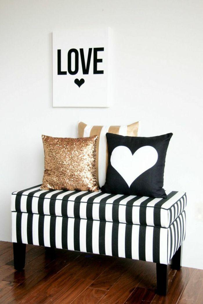 Gestaltung in Gold Schwarz und Weiß modern-Deko Ideen zum Valentinstag