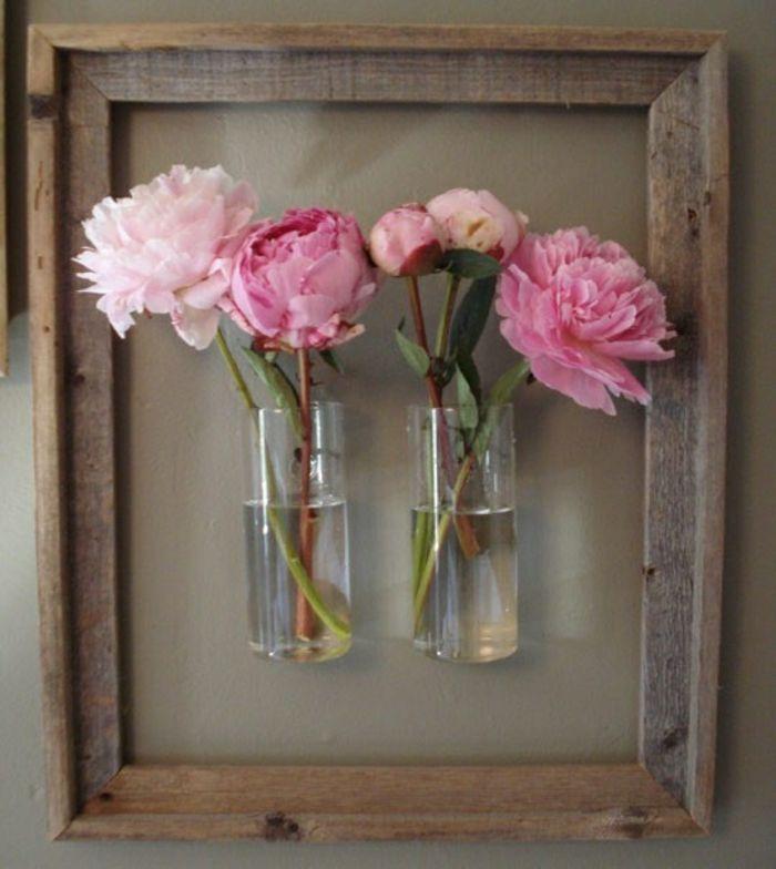 Glasvasen im Holzrahmen-Moderne Ideen für Vasen DIY