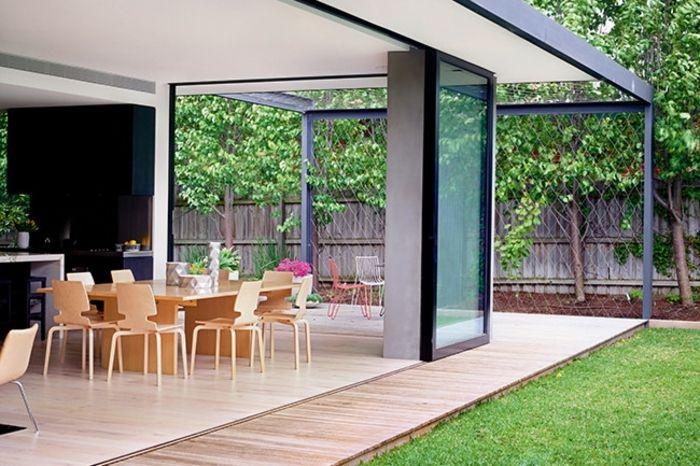 Glaswand Glasschiebetür-Veranda Innenhof Gestaltung