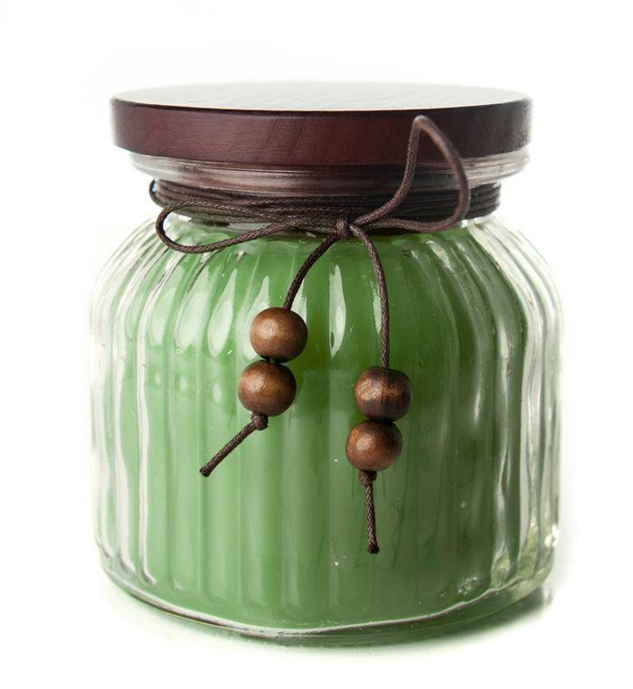 Grüne Kerze im Einmachglas-Flammenlose Kerzen