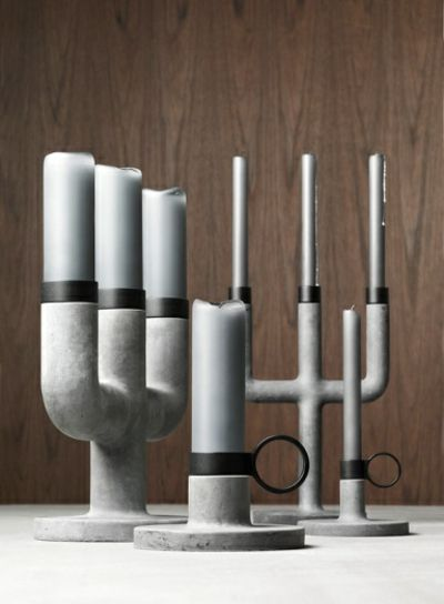 Großer Kerzenständer aus Gusseisen und Beton-Kerzenständer