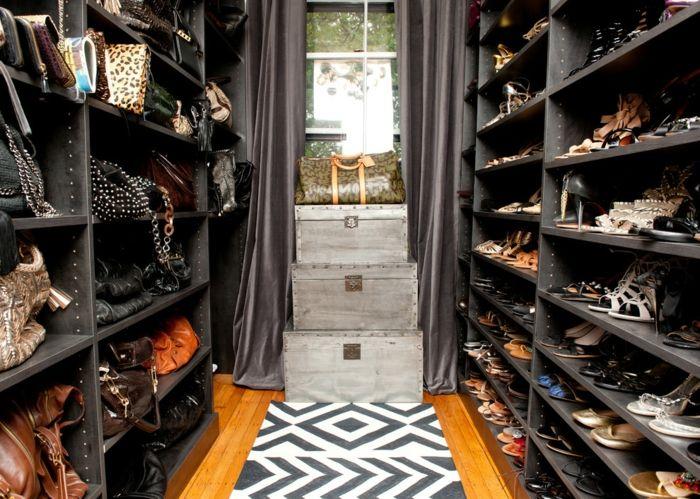 Grunge Look-Offener begehbarer Kleiderschrank System Luxus Ankleide Schwarz