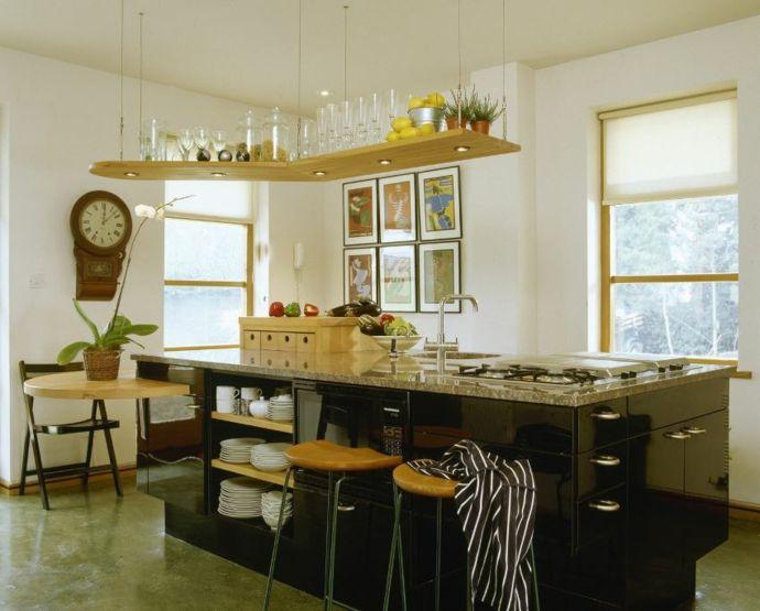 Hängeregal Kücheninsel Aufbewahrung-Küchen offene Regale