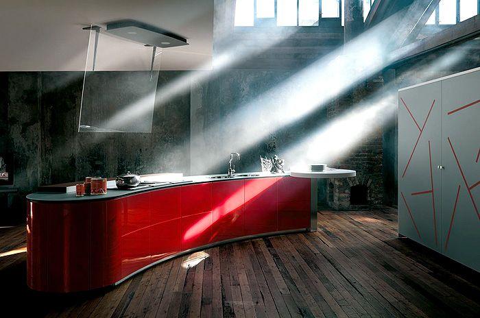 Höchste Qualität und Innovation-Küchentrends Design Küchenmöbel innovativ Kochinsel in Rot