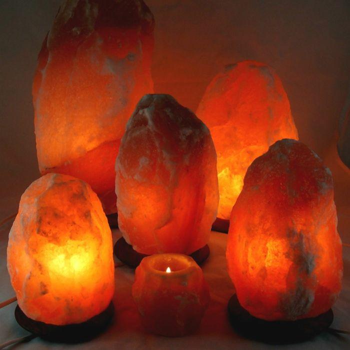Himalaya Salzlampen mit Fuß und Teelicht-Salzlampe-Salzkristalllampe