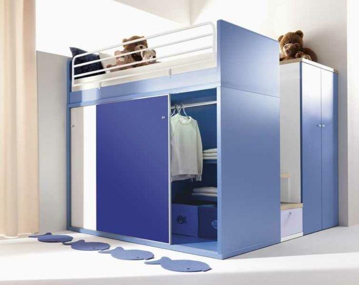Hochbett in Blau für den kleine Gentleman-Kinderzimmer Feng Shui Hochbett Möbel