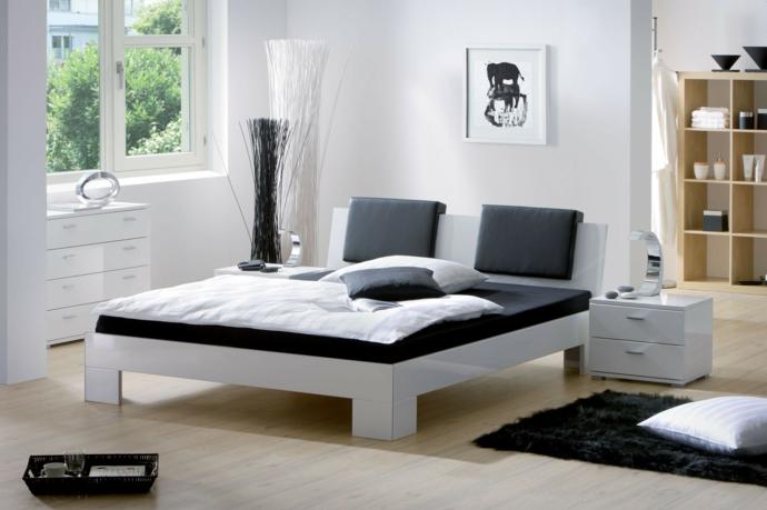 Hochglänzend Schwarz Weiß modern Designerbett-Schlafzimmermöbel