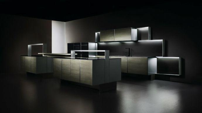Holz Kochinsel schlicht Weiß-Designer Küche