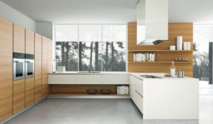 Holz Regale Schränke Modern Weiß-Küchenmöbel Design