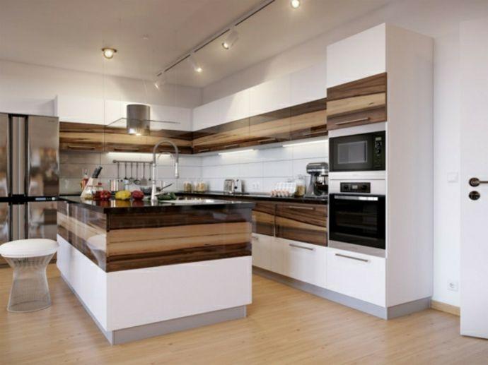 Holz Weiß Modern Deckenstrahler Barhocker dunkle Arbeitsplatten-Küchen mit Kochinsel