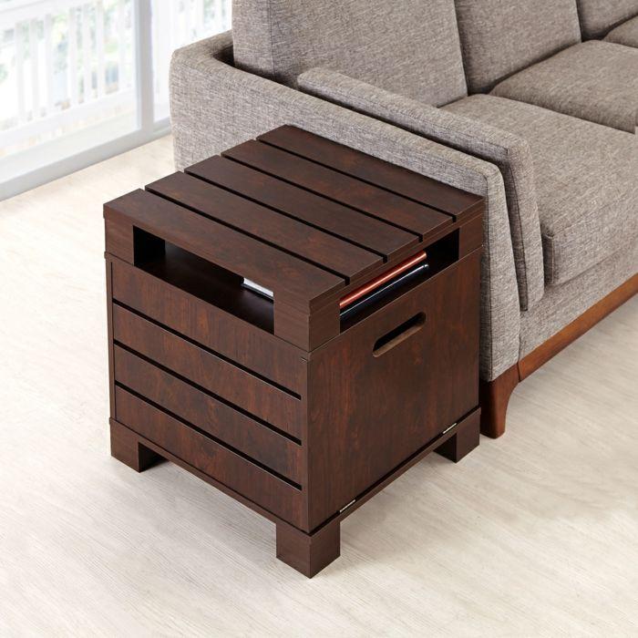 Holztisch Würfel modern-Beistelltisch Wohnzimmer