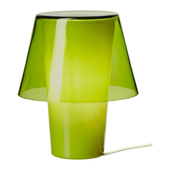 Ikea Gavik Kleine Tischleuchte aus Frostglas in grün-Moderne Lampen