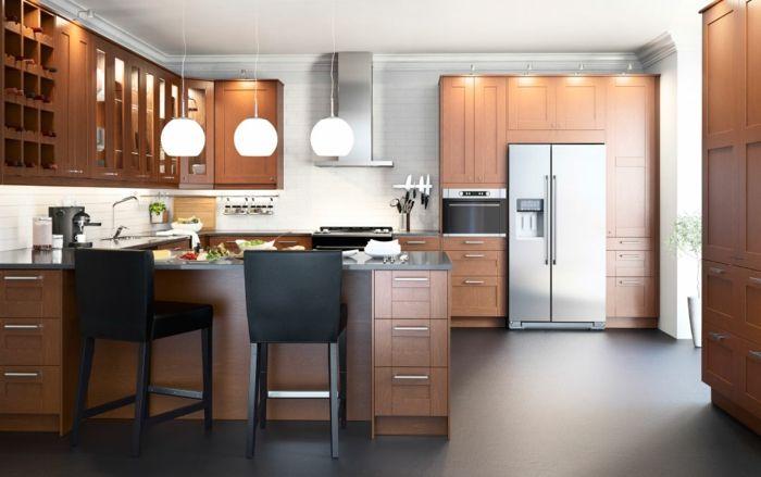 Ikea Küchensystem aus Eichenholz modern-Küchenregale mit Glastüren