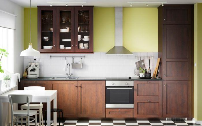Ikea Küchensystem in Braun-Küchenregale mit Glastüren