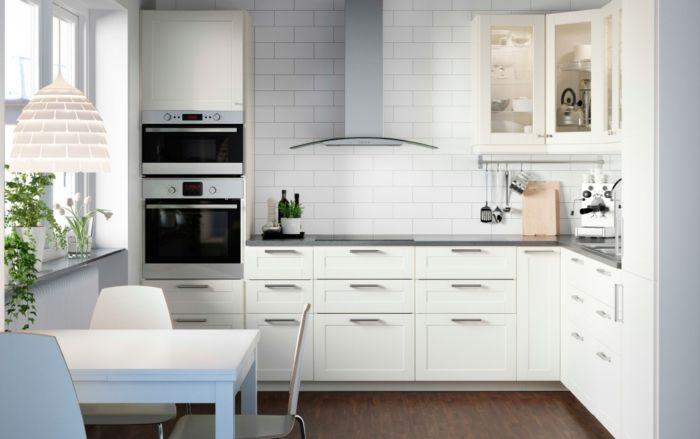 Ikea elegantes Küchensystem moderne Kücheninspiration-Küchenregale mit Glastüren
