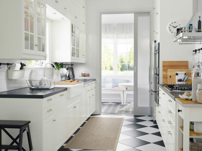 Ikea klassisches modernes Küchensystem in Weiß-Küchenregale mit Glastüren