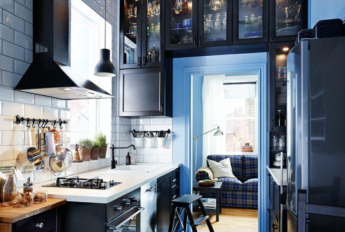 Ikea modernes Küchensystem Aufbewahrung-Küchenregale mit Glastüren