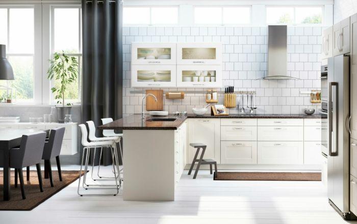 Ikea zeitgenössische Küche mit Wandregalen-Küchenregale mit Glastüren