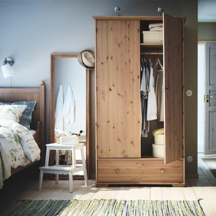 Ikea zweitürige Garderobe aus Holz Landhausstil-Hochwertige Kleiderschränke für das Schlafzimmer