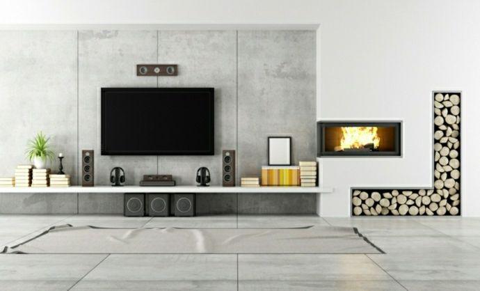 Interessante Holzaufbewahrung Moderne Wohnzimmer