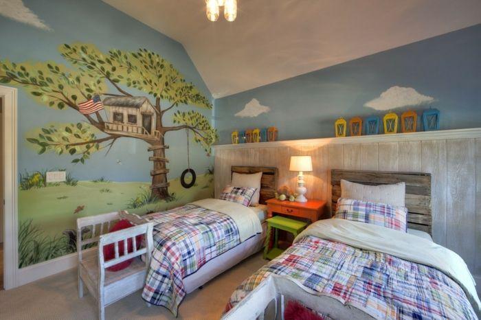Jugendzimmer Wandmalerei-DIY Kopfteil Europalette