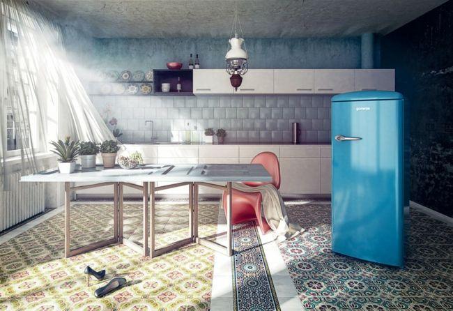 Küche mit Fliesen auf dem Boden, blauer Kühlschrank im Retro-Look-möbel design