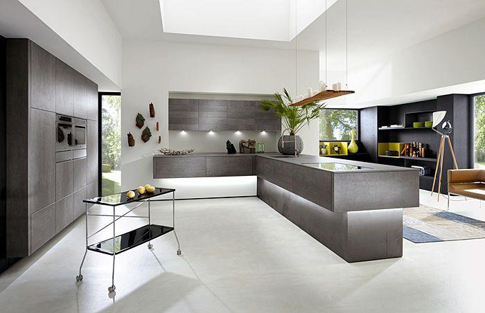 Küchenbeispiel mit matten hellgrauen Oberflächen-Tendenzen Küche Küchentrends Design Küchenmöbel Einrichtung Beton Keramik