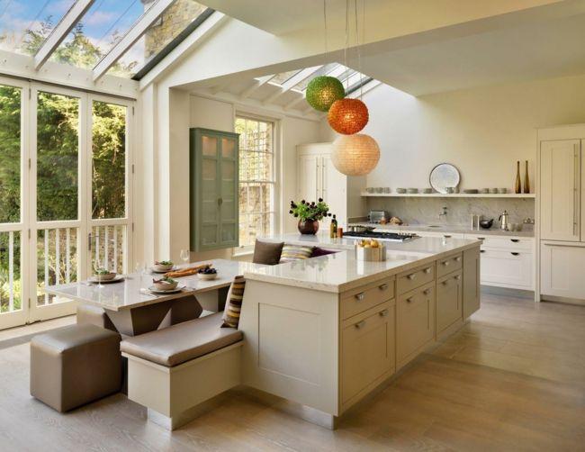 Kücheninsel mit eingebauter Eckbank-Gemütlicher Wohnkomfort-Sitzecke Eckbank Ideen Kochinsel