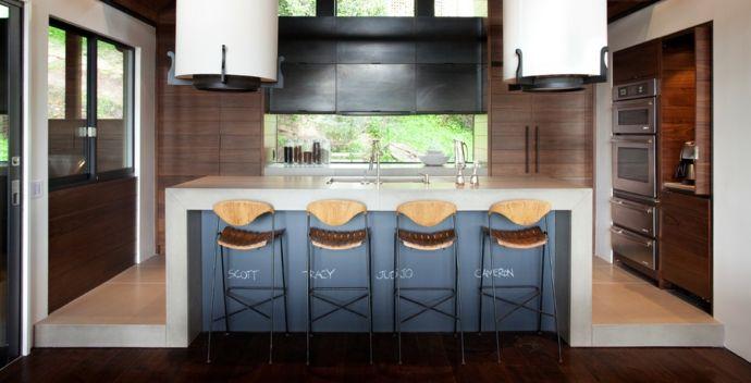 Kücheninsel modern Namen Beschriftung-Kreidetafel in Küche