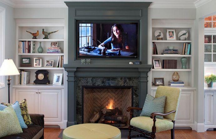 Kamin Fernseher Regale Gestaltung Wohnzimmer Modern